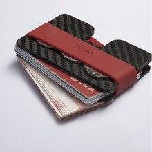 Deux plaques En fiber de Carbone multi-fonction titulaire de la carte portefeuille décapsuleur mince mince portefeuille avec élastique en caoutchouc bande coin bourse