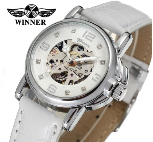 1ce651e38b9 Women Watches Luxury Brand Top Design Leather Strap White Girls Female  Watch Wrist Luminous Hands Skeleton horloges vrouwen-in Women s Watches  from Watches ...
