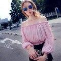 2016 verão novas mulheres da moda blusas de chiffon lanterna luva Sexy Cortadas Ombro Encabeça camisa feminina chiffon