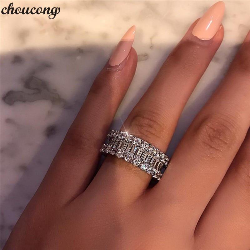 Choucong Eternity Promesse Anneau 925 sterling Argent Plein AAAAA Zircon cz Engagement Wedding Band Anneaux Pour Les Femmes Parti Bijoux