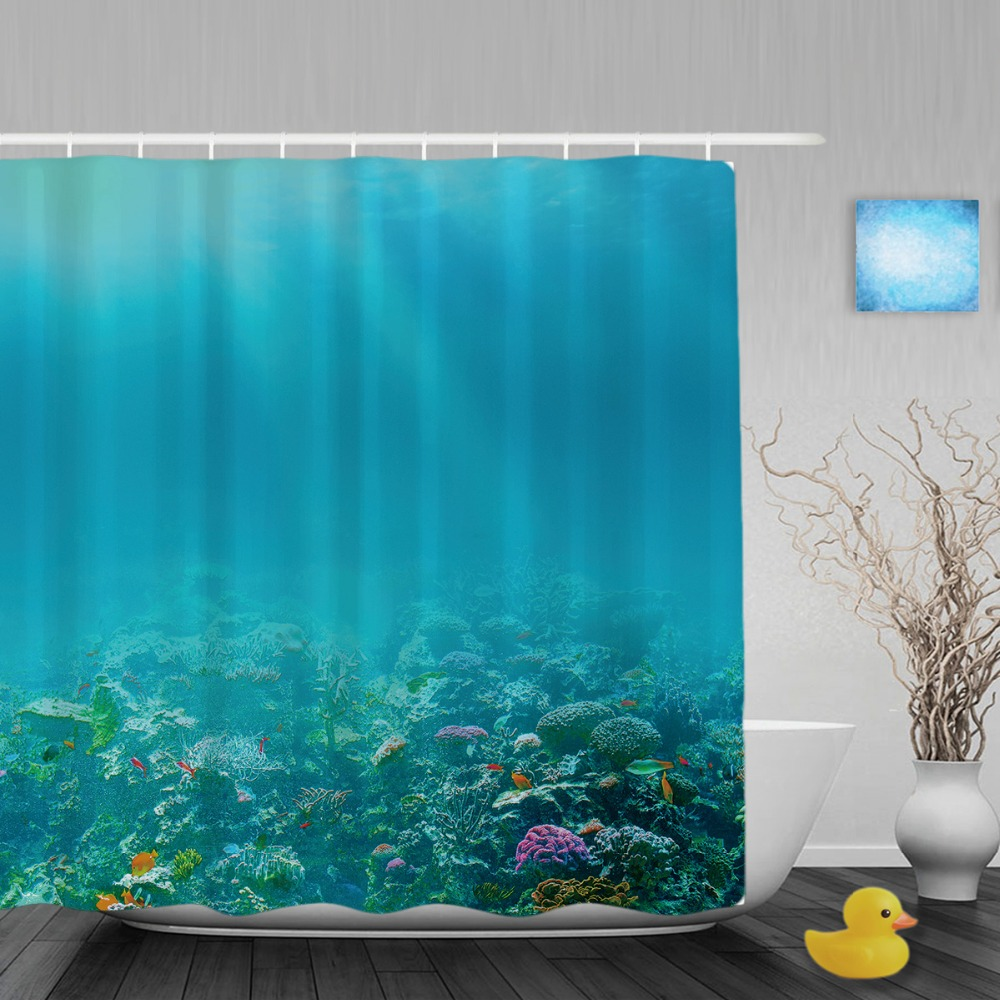 Underwater Coral Reef Bathroom Shower Curtain Marine Life