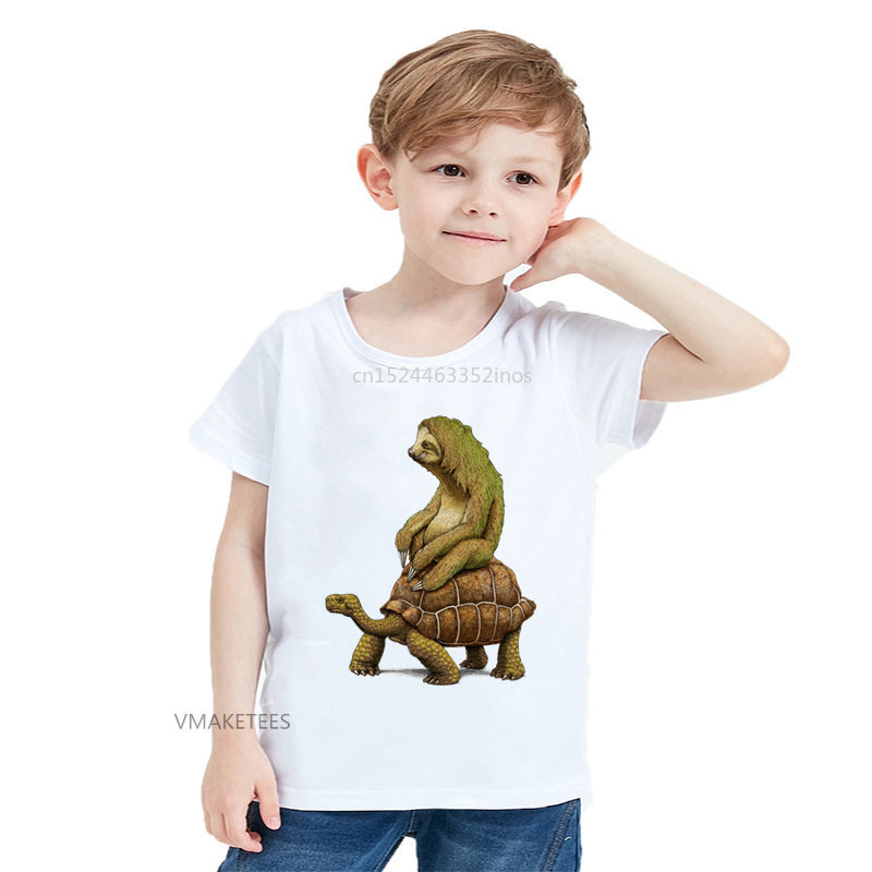 2018 Summer Girls & Boys T Shirt Speed Is Relative Sloth And Tortoise Print Children T-shirt Kids Casual Funny Clothes,hooo5717