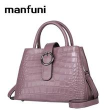 Manfuni Высокое качество 100% Cuir véritable сумки большой Ёмкость сумка из натуральной коровьей кожи женская рука Sacos крокодил Sacs à Bandoulière