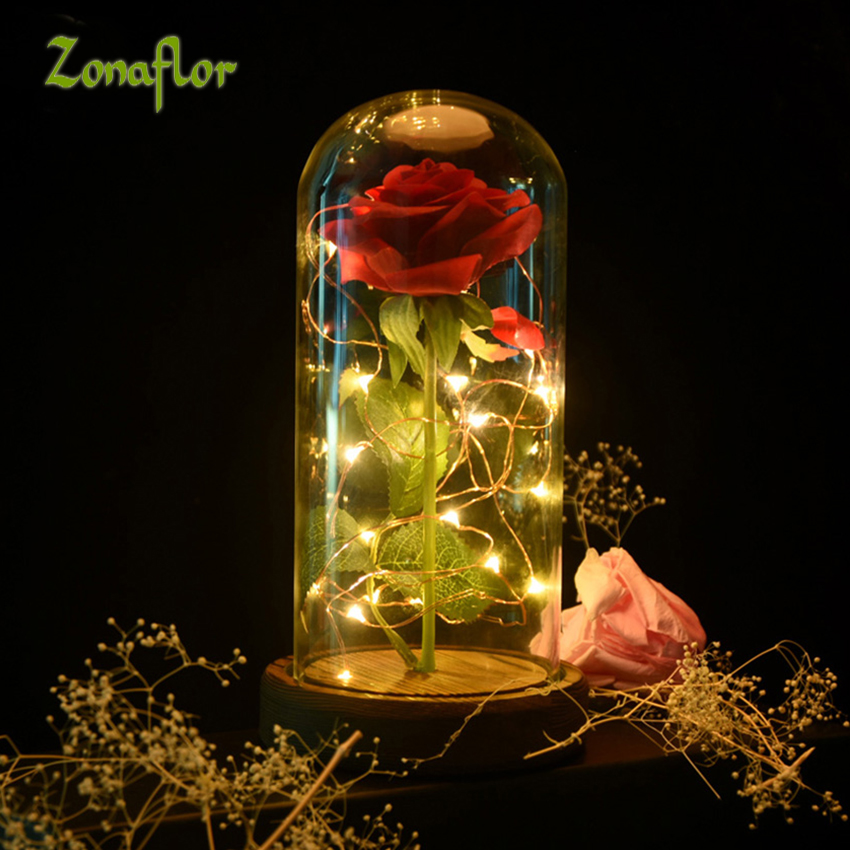 Zonaflor Artificial Flowers Eternal Rose In a Glass LED Light Flower Craft Supplies decor for office Best Valentine's Gift