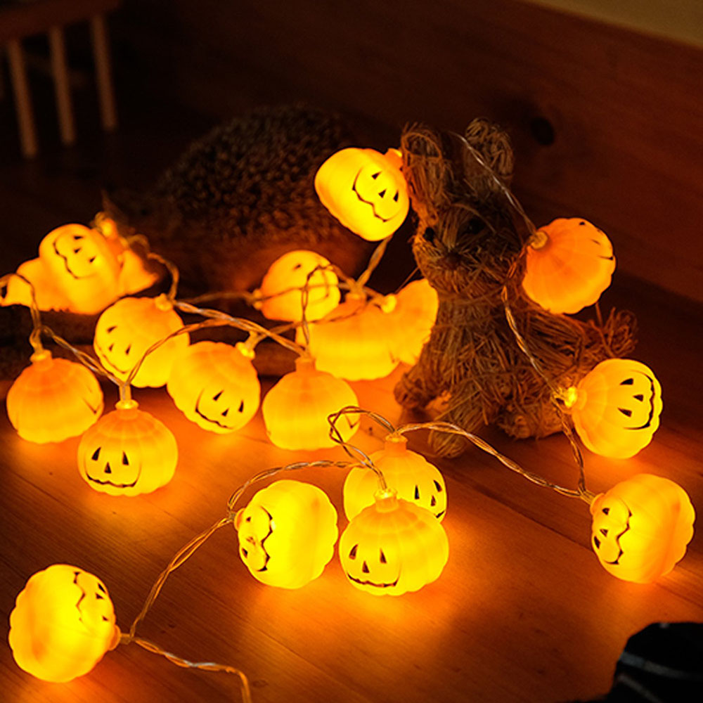 Halloween 3D Pumpkin LED String Lights 1M 2M 3M Orange Pumpkin Lights Battery Operated Halloween Christmas Decoration Lights