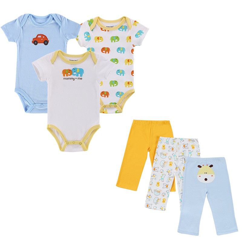 6 Pcslot 2016 Toddler Baby Clothing Sets Summer Outfits Baby's Sets Print Baby Romper Pants Lovley Boy Girl Baby Clothes Set (5)