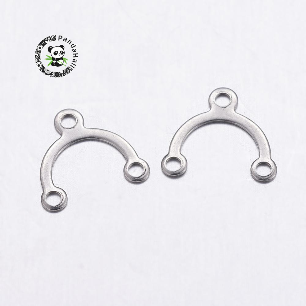304 Stainless Steel Chandelier Components, Arch, Stainless Steel Color, 8.5x9x0.5mm, Hole: 1mm
