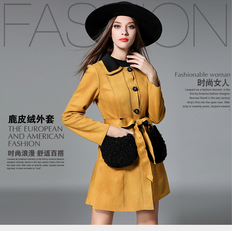 2017 Yellow Women Long Coats Long Sleeve Faux Suede Trench Coat For Women  Single Breasted Tie - Compare Prices On Yellow Trench Coat Women- Online Shopping/Buy