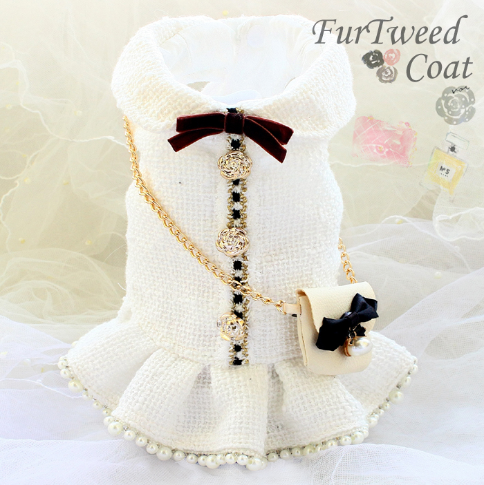 Free shipping handmade luxurious dog clothes vintage C style tweed chain bag pearl dog dress autumn