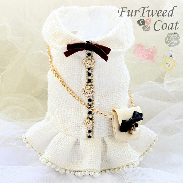 Free shipping handmade luxurious dog clothes vintage C style tweed chain bag pearl dog dress autumn winter spring small pet