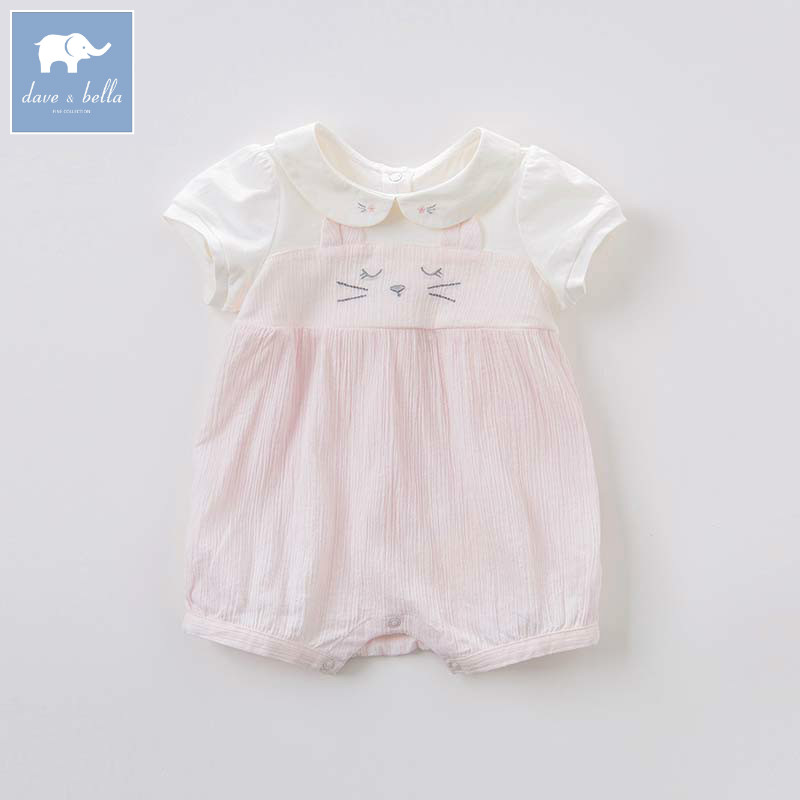 DB7191 dave bella summer baby girls newborn infant toddler jumpsuits children short sleeve printing clothing baby romper timex t2n598