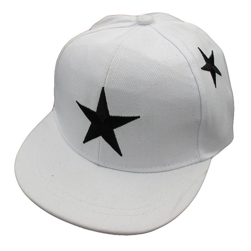 Embroidered Star Children's Snapback Cap - White