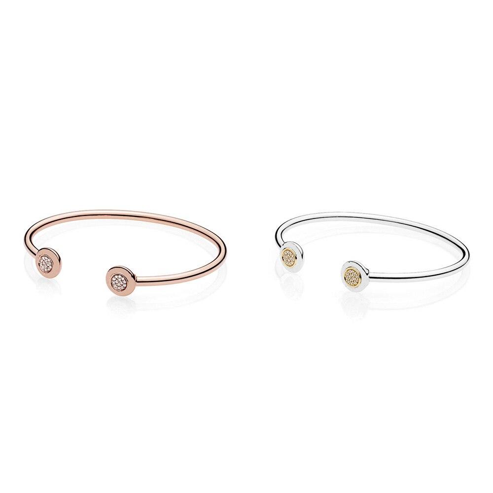 2 or Rose et argent couleur deux rond forme boucle bracelets pour femme breloques à assembler soi-même bracelets bijoux