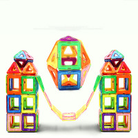 168PCS Magnet Building Tiles Clear Magnetic 3D Building Blocks Construction Play boards