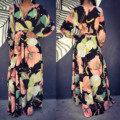 Primavera 2017 loose women dress manga larga con estampado floral sexy dress mujer cuello en v profundo beach sling gasa dress mujeres