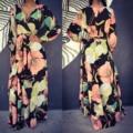 Spring 2017 Women Loose Dress Long Sleeve Floral Print Sexy Dress Femme Deep V Neck Beach Sling Chiffon Dress Women