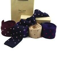 Designer Fashion Premium Knitted Natural Silk Necktie Narrow Skinny Slim Casual Knit Tie