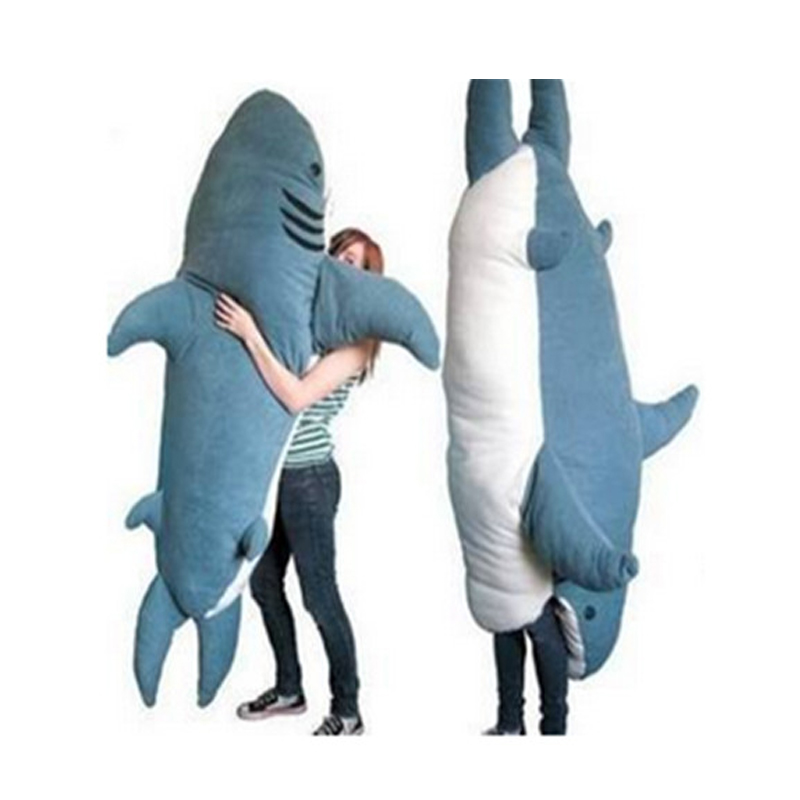 Fancytrader Pop Giant Shark Plush Toy Sleeping Bag Bite Me Sharks Tatami Sofa Bed mr froger carcharodon megalodon model giant tooth shark sphyrna aquatic creatures wild animals zoo modeling plastic sea lift toy