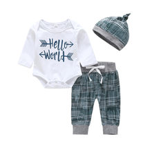 2019 Baby Clothing Sets Autumn Baby Boys Clothes Letter Print Romper+Long Pants+Hat Newborn Set Infant Clothes Dropshipping(China)