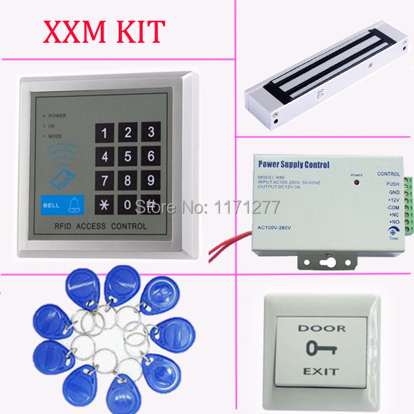 Free shipping standalone RFID door access control system+power supply+magnetic lock+exit button +10pcs RFID key rfid em card reader ip68 waterproof metal standalone door lock access control system with eletric lock power supply exit button