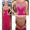 2015 de alta qualidade a line colher rosa quente longo backless prom frisada chiffon de luxo strass vestido de noite com cristal