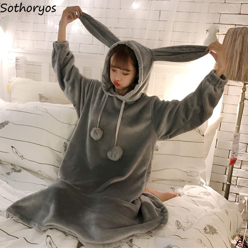 Nightgowns   Women Warm Kawaii Long Sleeve Flannel Rabbit Ears Womens Sleepwear Hooded Solid Ruffles Ladies   Sleepshirts   Fashion