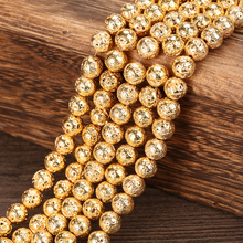 Wholesale 4 6 8 10 12 MM Pick Size Gold Lava Round Loose Beads charm Bracelets Jewelry Making Accessories