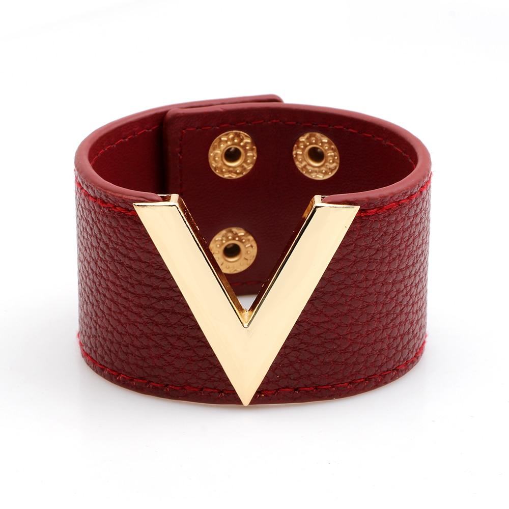 6 Color Fashion Metal V Wide Leather Women Bracelet High Quality Big Bracelets Bangles Wrap Charm Bracelet Lady Jewelry(China)