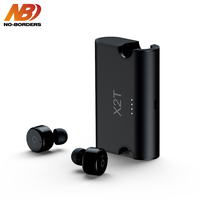 NO BORDERS X1T/X2T Mini Wireless Earphone Noise Canceling Headphones Bluetooth Headset with 1500mAh Power Bank Box for Phones