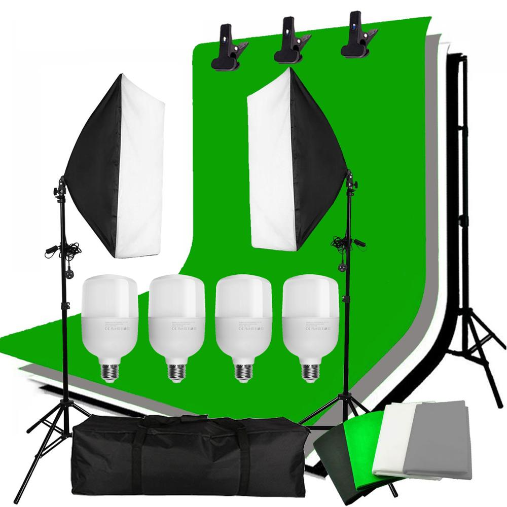 ZUOCHEN 4PCS 25W LED Photo Studio Softbox Soft Box Lighting 4 Backdrop + Background Support Stand Kit