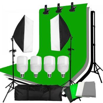 ZUOCHEN 4PCS 25W LED Photo Studio Softbox Soft Box Lighting 4 Backdrop + Background Support Stand Kit photo studio lighting kit 50x70cm softbox continuous lighting kit softbox boom arm 135w 25w light bulb adjustable tripod stand