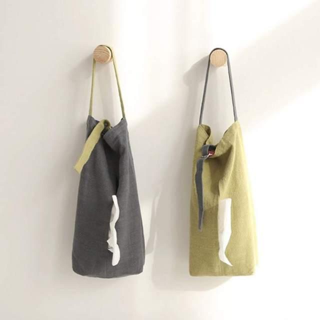 Estilo japonês Casa Simples Pure Color Algodão Linho Pendurado Tampa Da Caixa de Tecido suporte de Toalha de Papel Pendurado Saco Para Armazenamento De Cozinha