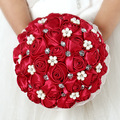 Red Lace Pearl Rhinestone Artificial Bridal Wedding Bouquets Real Pic Ramo Novia Mariage Bridesmaid Flower Accessoires