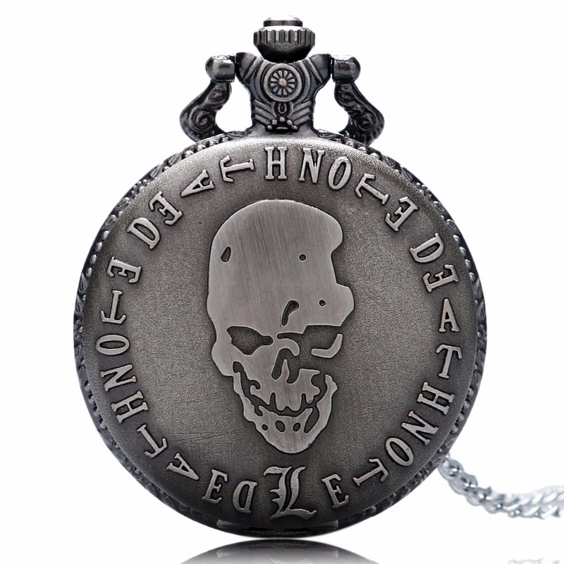 Relogio Feminino Hot Animation Death Note Cosplay Gray Color Quartz PocketWatch Analog Pendant With Necklace Clock Shipping