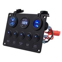 5 Gang ON OFF Toggle Car Panel Switch Dual USB Socket Charger 4.2A LED Voltmeter 12V Power Socket for Truck Boat Car Camper