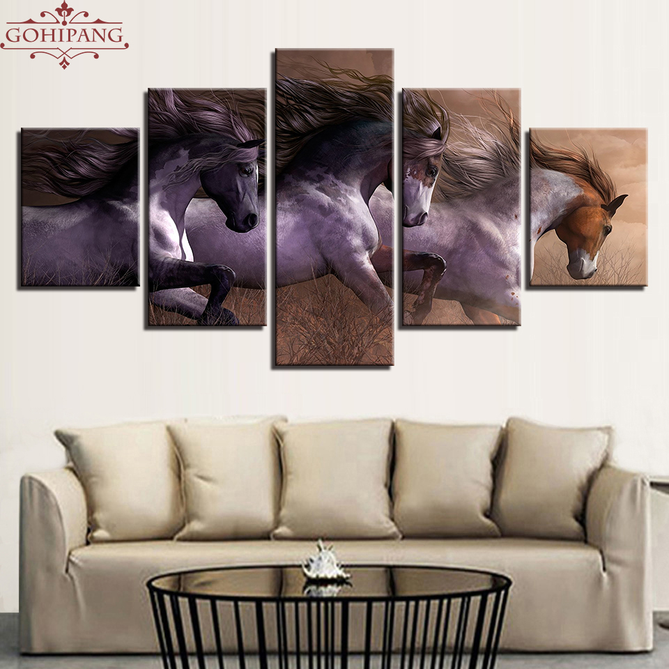 Gohipang Framed Modern Canvas Paintings Living Room Wall Art Modular HD Prints Pictures 5 Pieces Animal Horses Race Posters Home
