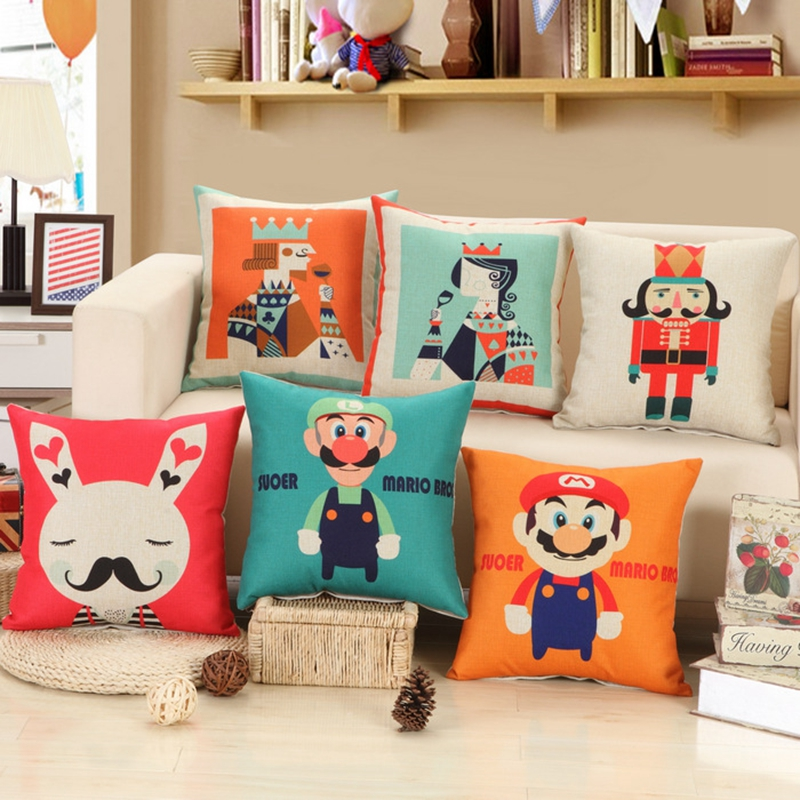 Super Mario Cushion Without Inner Creative Linern Cotton Square 45 Home Decor Sofa Car Seat Decorative Throw Pillow Almofada