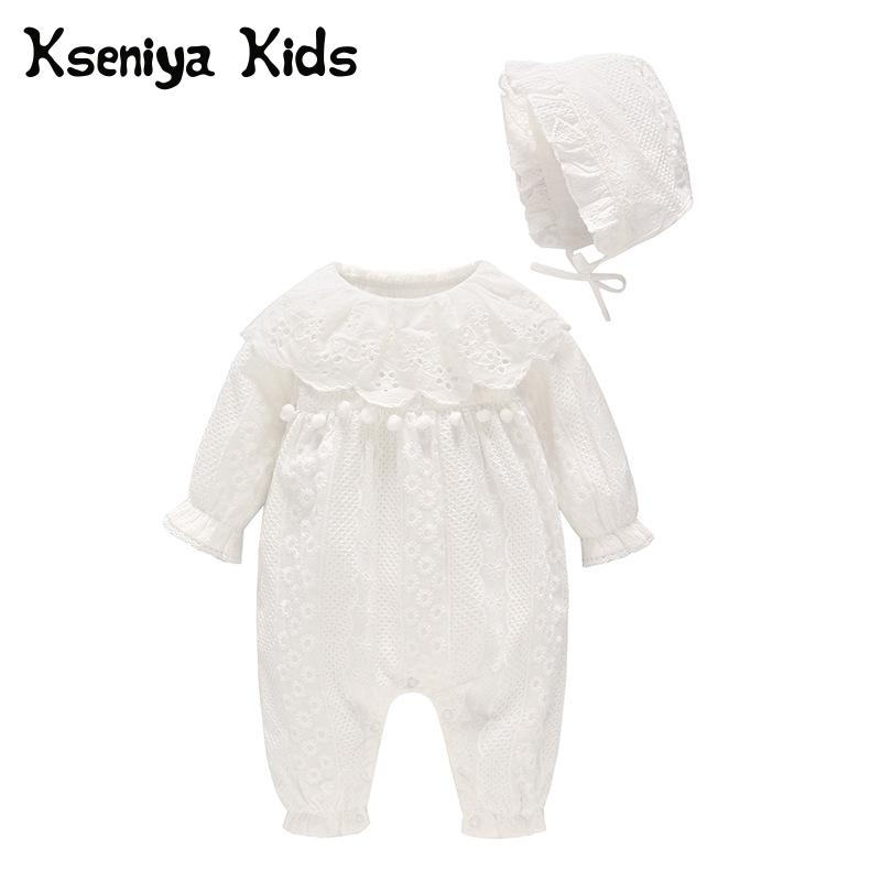 Kseniya Kids 2018 Autumn Baby Girl Clothes Newborn White Lace Cotton Baby Jumpsuit With Lace Hat Girls Rompers Romper Baby GirlKseniya Kids 2018 Autumn Baby Girl Clothes Newborn White Lace Cotton Baby Jumpsuit With Lace Hat Girls Rompers Romper Baby Girl