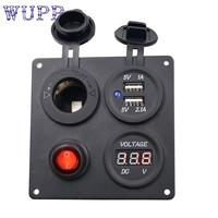 Motorcycle Accessories 1pcs 12V 20A Car Switch Panel Boat Marine Aluminum Switch Boat USB Voltmeter Combination