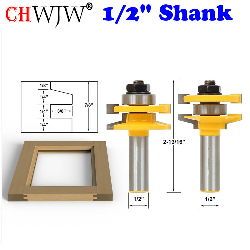 2PC 1/2 Shank Rail & Stile Router Bit set - Bevel - door knife Woodworking cutter Tenon Cutter for Woodworking Tools 1 2 38 1mm 45 degree bevel knife with bearing star m trimming knife woodworking milling cutter router bits 3039