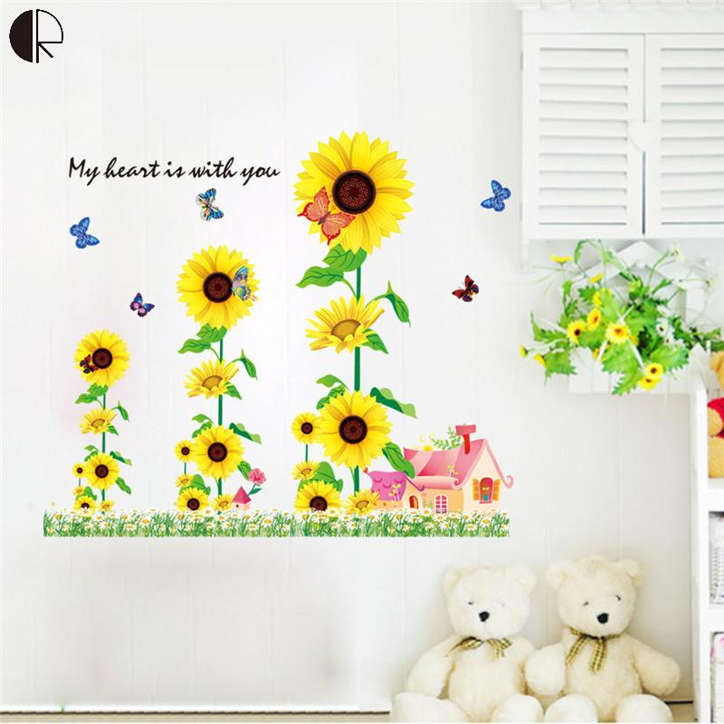 Beautiful Sunflower Home Decor Wall Stickers Love House Decoration Vinyls Wall For Kitchen Glass Bathroom Wallpaper