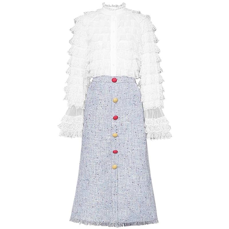 Costumes Jupes Printemps Ensembles Été Blanc Manches Pièces Flare Boutons Mode Ruches Dentelle De Concepteur Shirts 2019 Deux Midi Femmes wUTwAq
