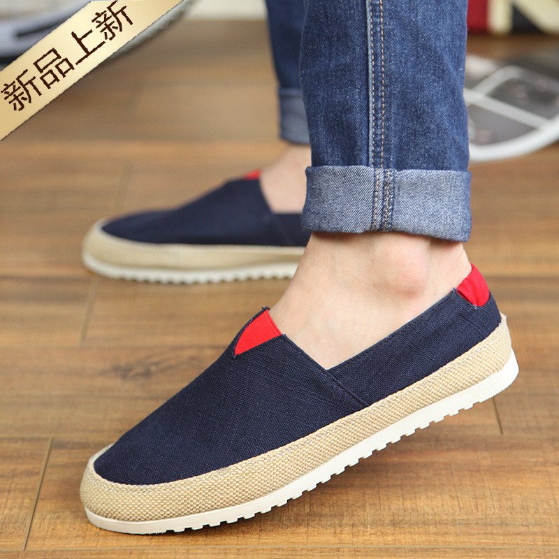 Men's Shoes 2019 Spring And Summer One-legged Pea Lazy Driving Casual Shoes Korean Version Of Mens Canvas Shoes Breathable Mens Shoes Lustrous Surface Men's Casual Shoes