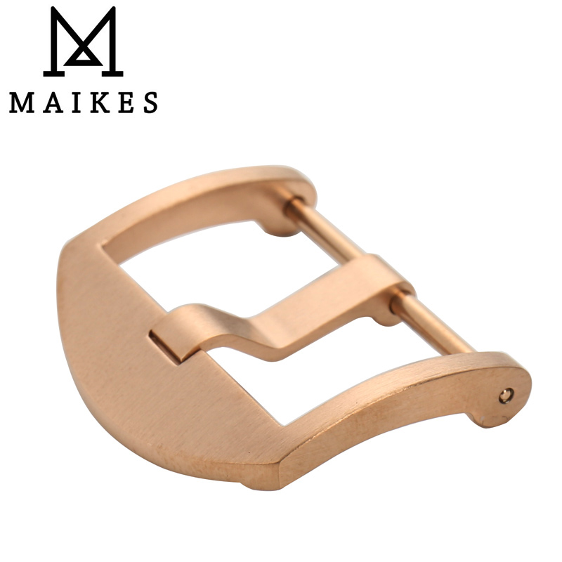 MAIKES 316L stainless steel Screw in Watch buckle Clasp rose gold 20mm 22mm 24mm brushed for panerai of watchbands