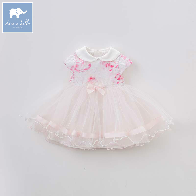 Dave bella summer baby girls party wedding birthday embroidery dress children Lolita dresses toddler infant clothes