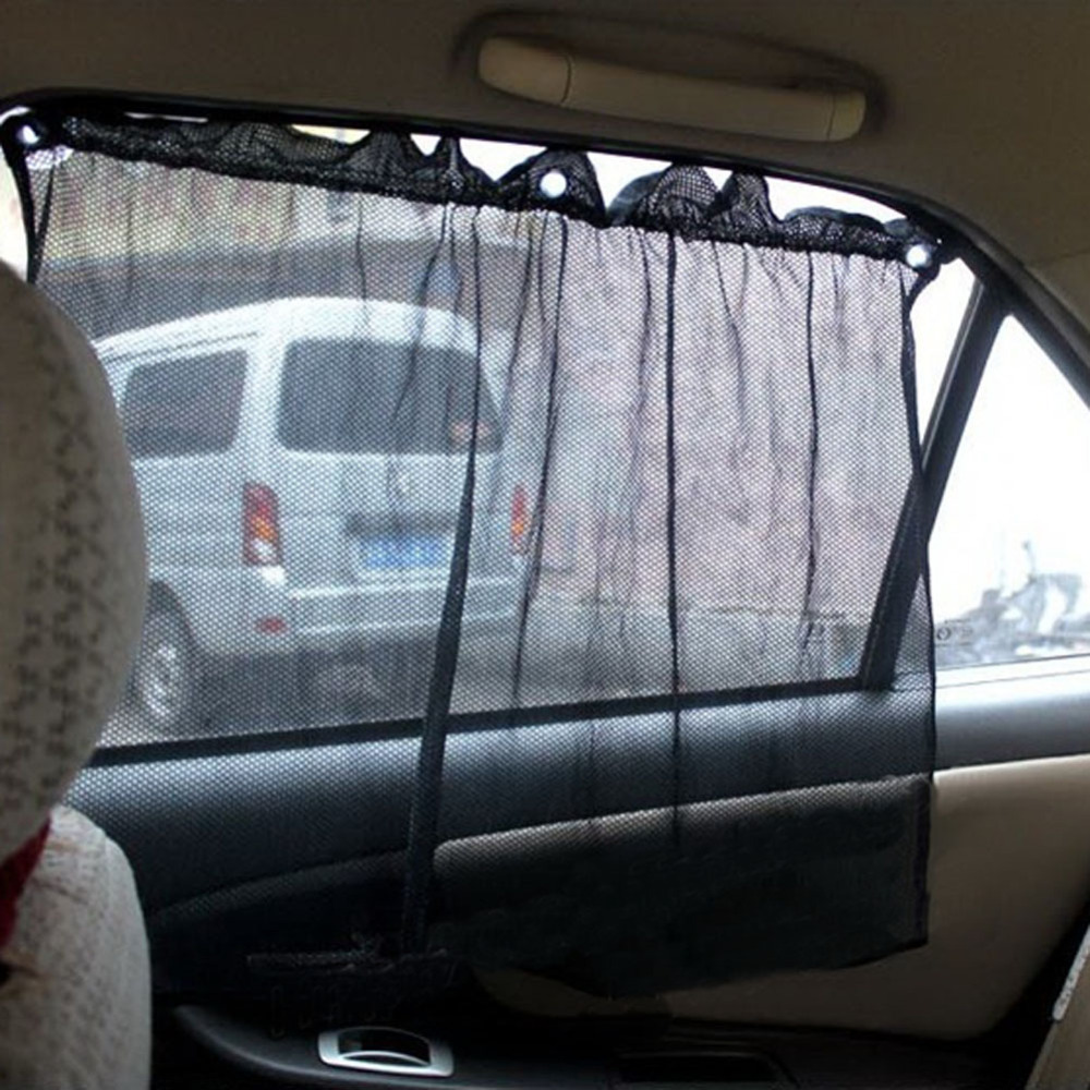 1 pair black car sun shade curtain suction cup uv protection side window curtain. Black Bedroom Furniture Sets. Home Design Ideas