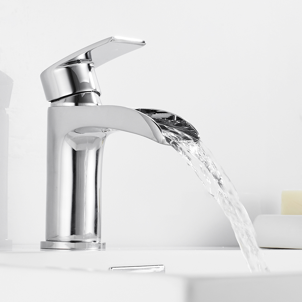Waterfall Basin Faucet Sink Tap Bathroom Brass Hot Cold Mixer Water Single Holder Hole Torneira Kitchen Contemporary-in Basin Faucets from Home Improvement    3