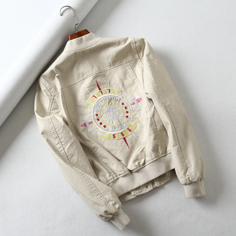 England cartoon embroidery pu   leather   jackets female was thin locomotive   leather   jackets Кожаная одежда wq2147 wholesale