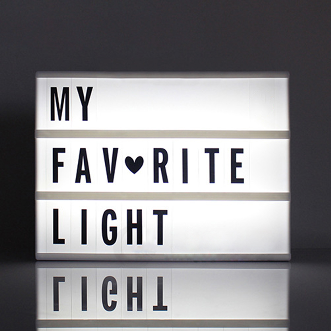 1pc A6 Size LED Cinematic Light Box With DIY 90 PCS BLACK Letters Cards AAA Battery  Powered Cinema Lightbox