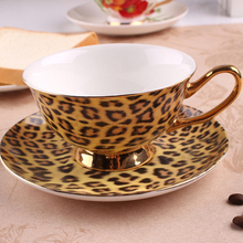 Leopard print fashion coffee cup and saucer british royal tea cappuccino ceramic bone china